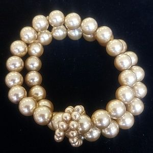 None Jewelry - Champagne Colored Resin Bead Bracelet